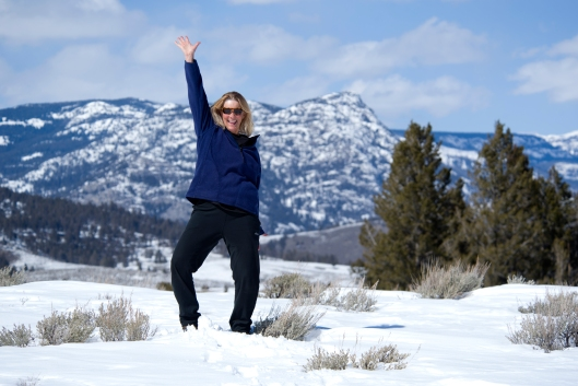 Me dancing in Yellowstone up on top of No No Hill